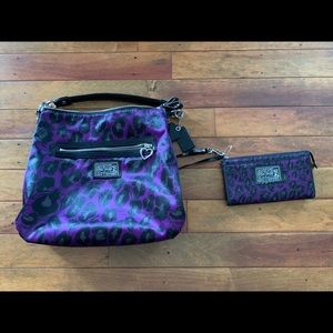 Coach purple purse and wallet